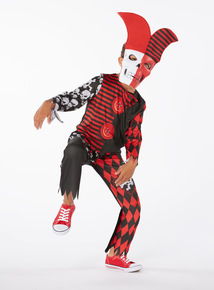 Red Halloween Jester with Mask  (3-12 years)