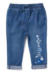 Blue Flower Embroidered Trousers (0-24 months)