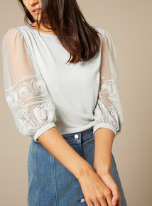 Premium Embroidered Balloon Sleeve Top