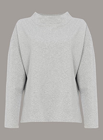 Premium Grey Marl Funnel Neck Sweat