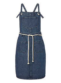Denim Pinafore with Rope Tie