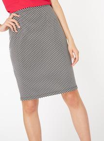 Monochrome Pull On Pencil Skirt