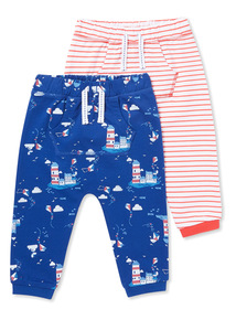 2 Pack Multicoloured Print Joggers (0-24 months)