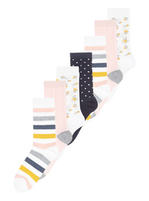 Multicoloured Flower Market Socks 7 Pack