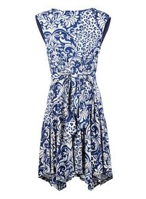 IZABEL Multi Blue Floral Printed Midi Dress