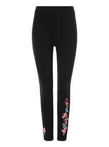 Black Floral Embroidered Leggings