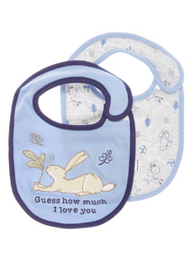 2 Pack Blue and Grey Guess How Much I Love You Bibs