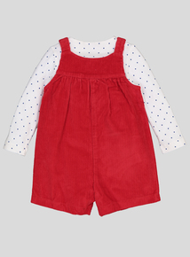 Red Corduroy Bib Shorts & Polkadot Top With Tights (0-24 months)
