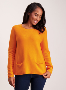 Orange Swing Pocket Long-Sleeved Jumper
