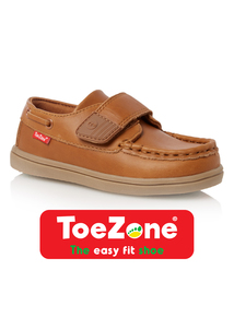 Boys Light Brown Leather ToeZone Shoes