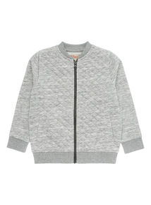 Boys Grey Quilted Bomber Sweat (9 months-6 years)