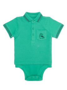 Boys Green Dinosaur Polo Bodysuit (0-24 months)