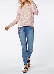 Denim Embroidered Skinny Jeans