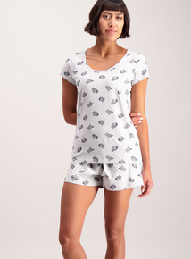 Grey Raccoon Print Shorty Pyjamas