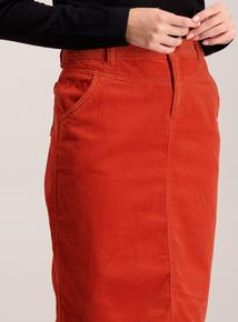 Dark Orange Corduroy Pencil Skirt