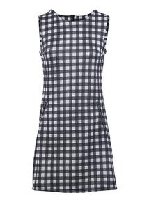 IZABEL Multi Grey Check Print Shift Dress