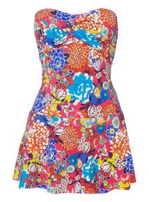 Multicoloured Skirted Swimsuit