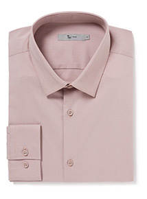 Pink Long Sleeve Slim Fit Shirt With Stretch
