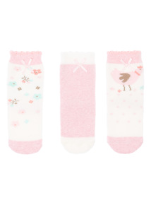 Girls Pink Terry Socks 3 Pack (0-24 months)