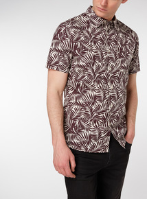 Dark Red Leaf Print Regular Fit Shirt