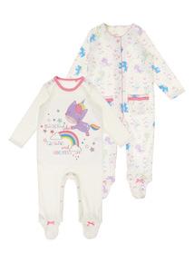 Girls White Unicorn Sleepsuit (0-24 months) 2 Pack