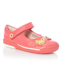 Girls Pink Leather Bumper Shoe