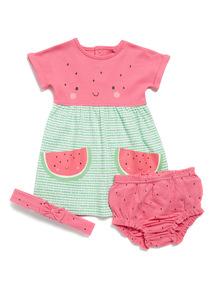3 Piece Pink Watermelon Dress Set (0-24 months)