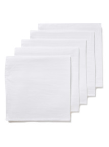 5 Pack White Muslin Squares