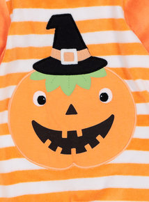 Orange & White Velour Pumpkin Halloween Sleep Suit (0 - 36 months)