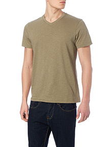 Online Exclusive Khaki  V-neck T-shirt