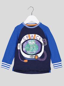 Blue Space Dinosaur Long Sleeve T-Shirt (9 months- 6 years)