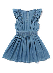 Denim Embroidered Frill Dress (3-14 years)