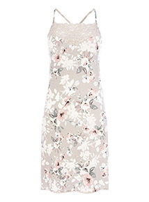 Grey High Neck Lace Floral Chemise