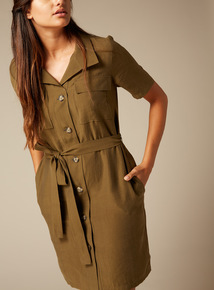 Premium Button Through Shirt Dress