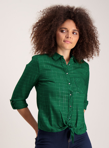Green with Metallic Thread Check Tie Front Shirt