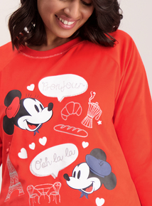 Disney Mickey & Minnie Mouse Red Paris Pyjama Top
