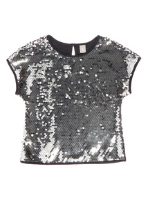 Black Revisable Silver Sequin Top (3-14 years)