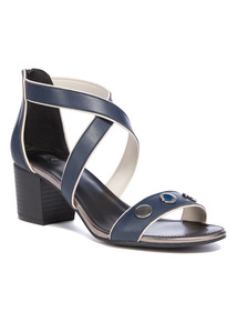 Navy Block Heel Sandals