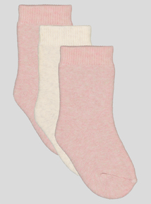 3 Pack Pink and Oatmeal Terry Socks (newborn-36 months)