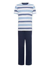 White Stripe and Navy Pyjamas