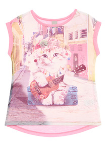 Girls Pink Cat Top (3 - 12 years)