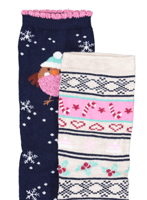 Christmas Navy Blue & Pink Robin Socks 2 Pack