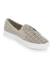 Sole Comfort Grey Floral Laser Cut Shoes