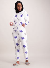 Cream Star Print Fleece All In One
