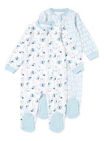2 Pack Blue Zip Through Dinosaur Sleepsuits (Newborn-24 months)