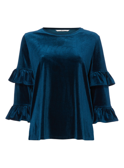 Teal Velour Fluted Sleeve Top