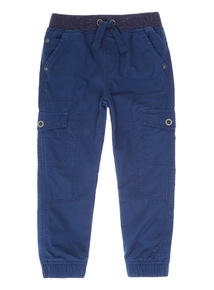 Navy Ribbed Waist Cargo Trousers (9 months-6 years)