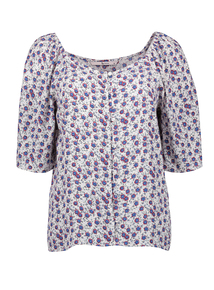 Multicoloured Ditsy Print Top