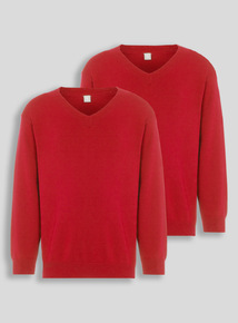 Red V-Neck Jumpers 2 Pack (3-12 years)