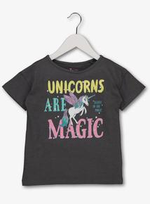 Grey 'Unicorns Are Magic' T-Shirt (4-14 years)